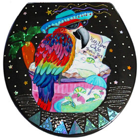 Whimsical maccaw wearing a blue hat perched on a keylime pie toilet seat