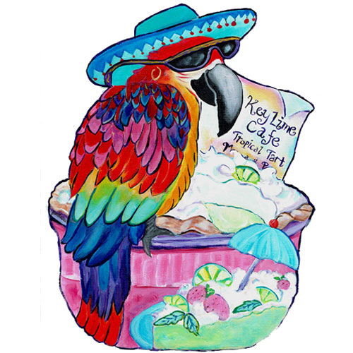 Whimsical maccaw wearing a blue hat perched on a keylime pie wall art
