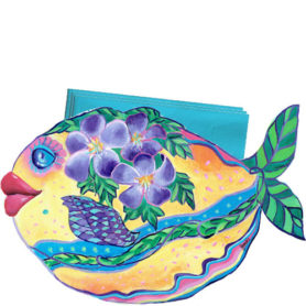Whimsical yellow fish with purple flowers swimming napkin holder