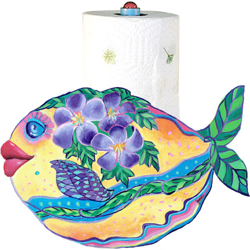 Whimsical yellow fish with purple flowers swimming paper towel holder