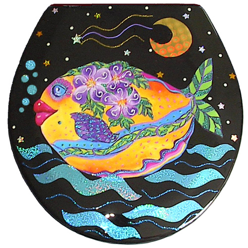 Whimsical yellow fish with purple flowers swimming toilet seat