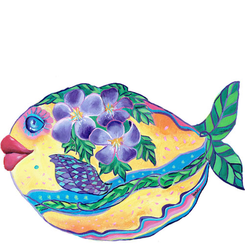 Whimsical yellow fish with purple flowers swimming wall art