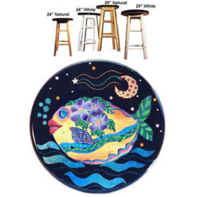 Whimiscal yellow fish with purple flowers swimming stool