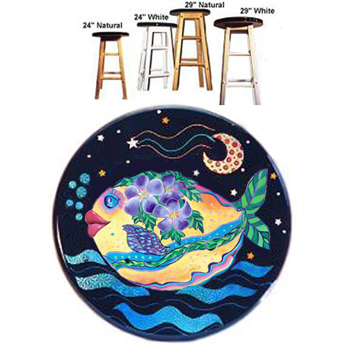 Whimsical yellow fish with purple flowers swimming stool
