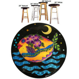Whimsical yellow fish with purple flowers swimming bar stool