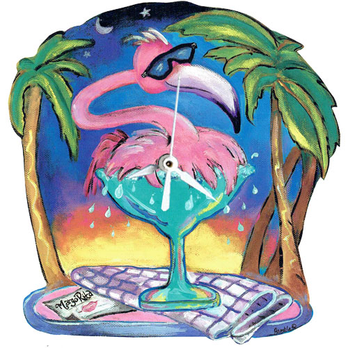 Whimsical pink flamingo splashing in a margarita glass clock