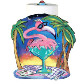 Whimsical pink flamingo splashing in a margarita glass napkin holder