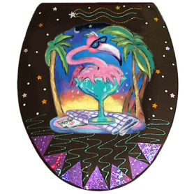 Whimsical pink flamingo splashing in a margarita glass toilet seat