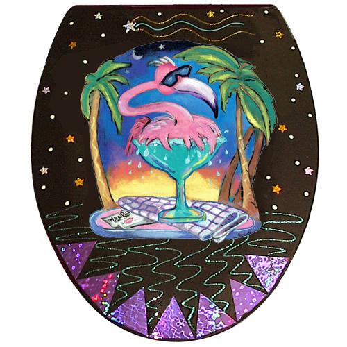 Whimsical pink flamingo splashing in a margarita glass toilet seat