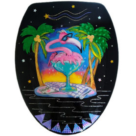 Whimsical pink flamingo in a margarita glass toilet seat