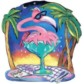 Whimiscal pink flamingo splashing in a margarita glass wall art