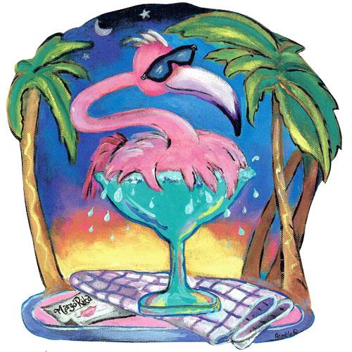 Whimsical pink flamingo splashing in a margarita glass wall art
