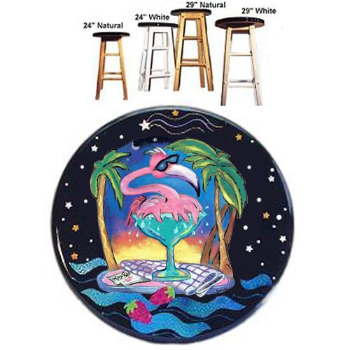 Whimsical pink flamingo splashing in a margarita glass stool
