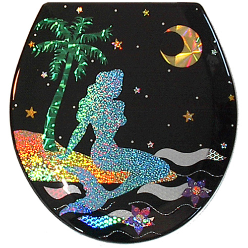 Metallic foil cut mermaid lounging by the sea with a palm tree toilet seat