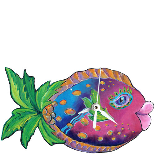 Whimsical pink and blue fish with a palm tree tail clock