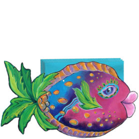 Whimiscal pink and blue fish with a palm tree tail napkin holder