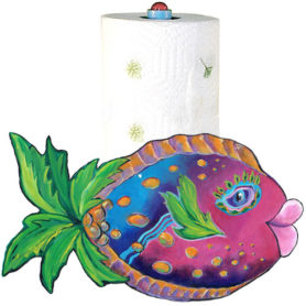 Whimsical pink and blue fish with a palm tree tail paper towel holder