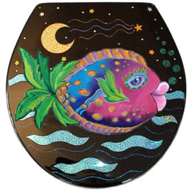 Whimiscal pink and blue fish with a palm tree tail toilet seat