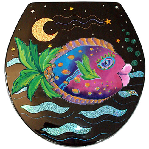 Whimsical pink and blue fish with a palm tree tail toilet seat