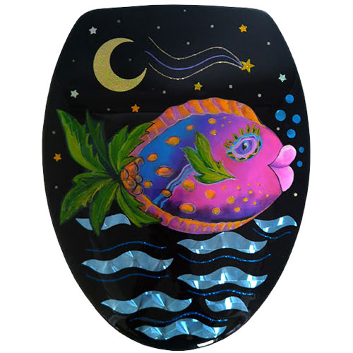 Pink palm tree fish toilet seat