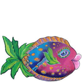 Whimiscal pink and blue fish with a palm tree tail wall art