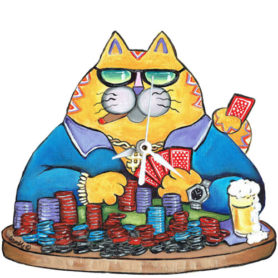 Whimsical yellow cat playing poker clock