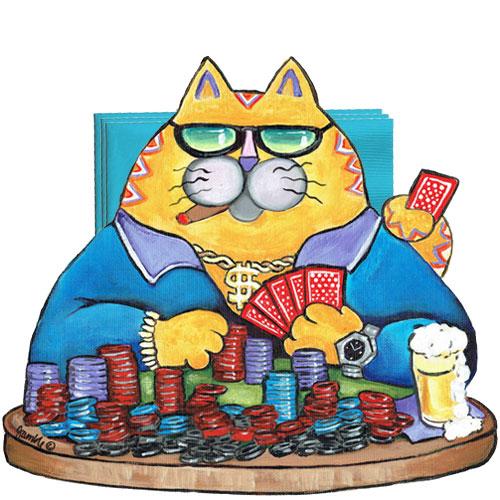 Whimsical yellow cat playing poker napkin holder