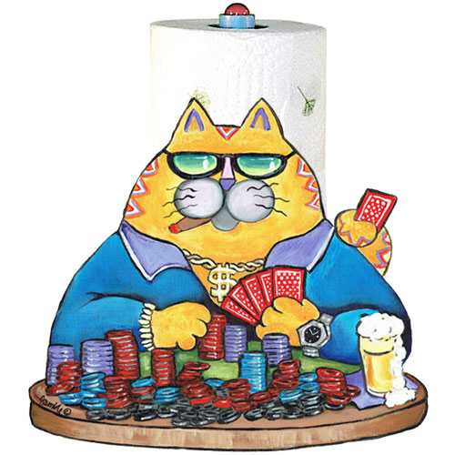 Whimsical yellow cat playing poker paper towel holder