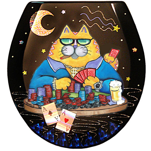 Whimsical yellow cat playing poker toilet seat