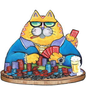 Whimsical yellow cat playing poker wall art
