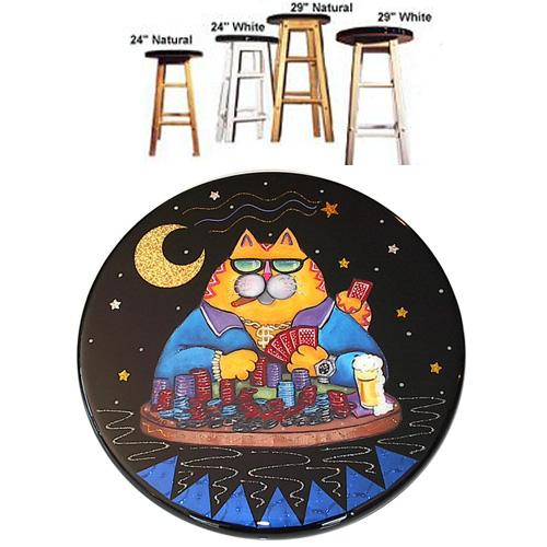 Whimsical yellow cat playing poker stool