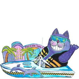 Whimsical purple cat with a ski vest in a boat clock