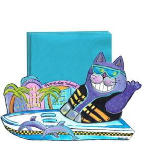 Whimsical purple cat with a ski vest in a boat napkin holder