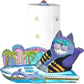 Whimsical purple cat with a ski vest in a boat paper towel holder