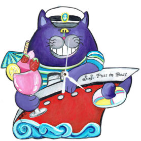 Whimsical purple cat in a red boat with a tropical drink clock