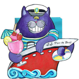 Whimsical purple cat in a red boat with a tropical drink napkin holder
