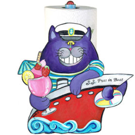 Whimiscal purple cat in a red boat with a tropical drink paper towel holder