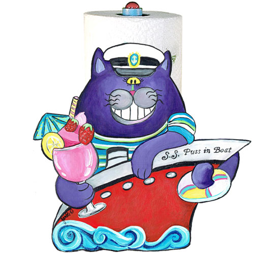 Whimsical purple cat in a red boat with a tropical drink paper towel holder