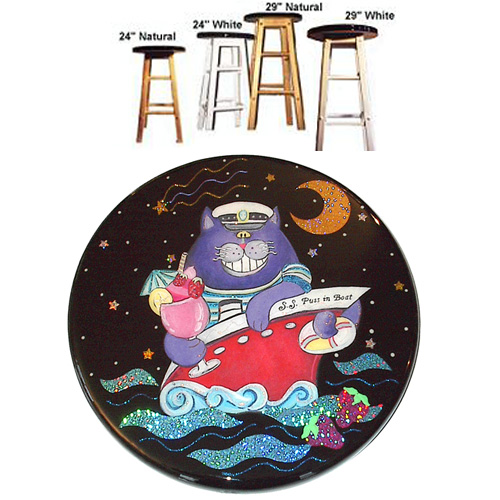 Whimsical purple cat in a red boat with a tropical drink stool