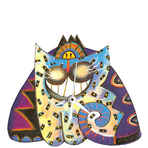 Whimsical smiling purple and blue cat clock