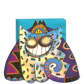 Whimsical smiling purple and blue cat napkin holder