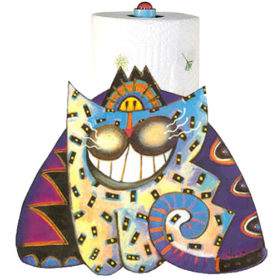 Whimsical smiling purple and blue cat paper towel holder