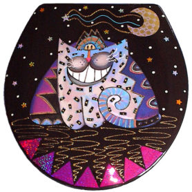 Whimsical smiling purple and blue cat toilet seat