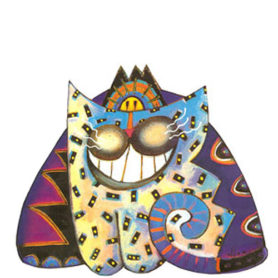 Whimsical smiling purple and blue cat wall art