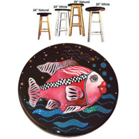 Whimsical red fish with checkboard stripe stool