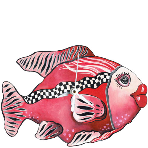 Whimsical red fish with checkboard stripe clock