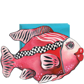 Whimsical red fish with checkboard stripe napkin holder