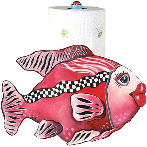 Whimsical red fish with checkboard stripe paper towel holder