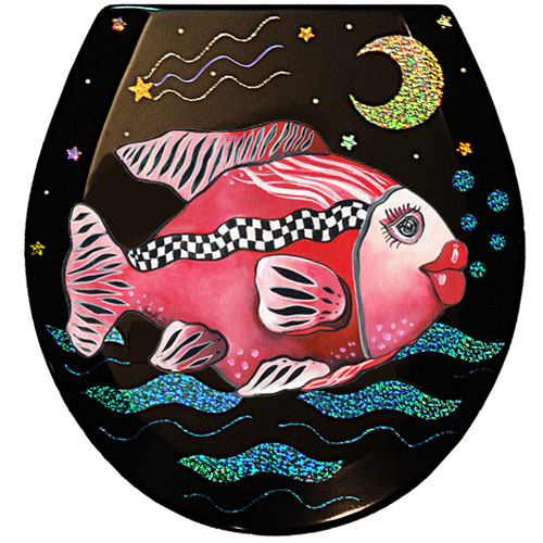 Whimsical Racy Ruby Fish Toilet Seat