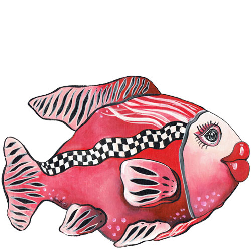 Whimsical red fish with checkboard stripe wall art